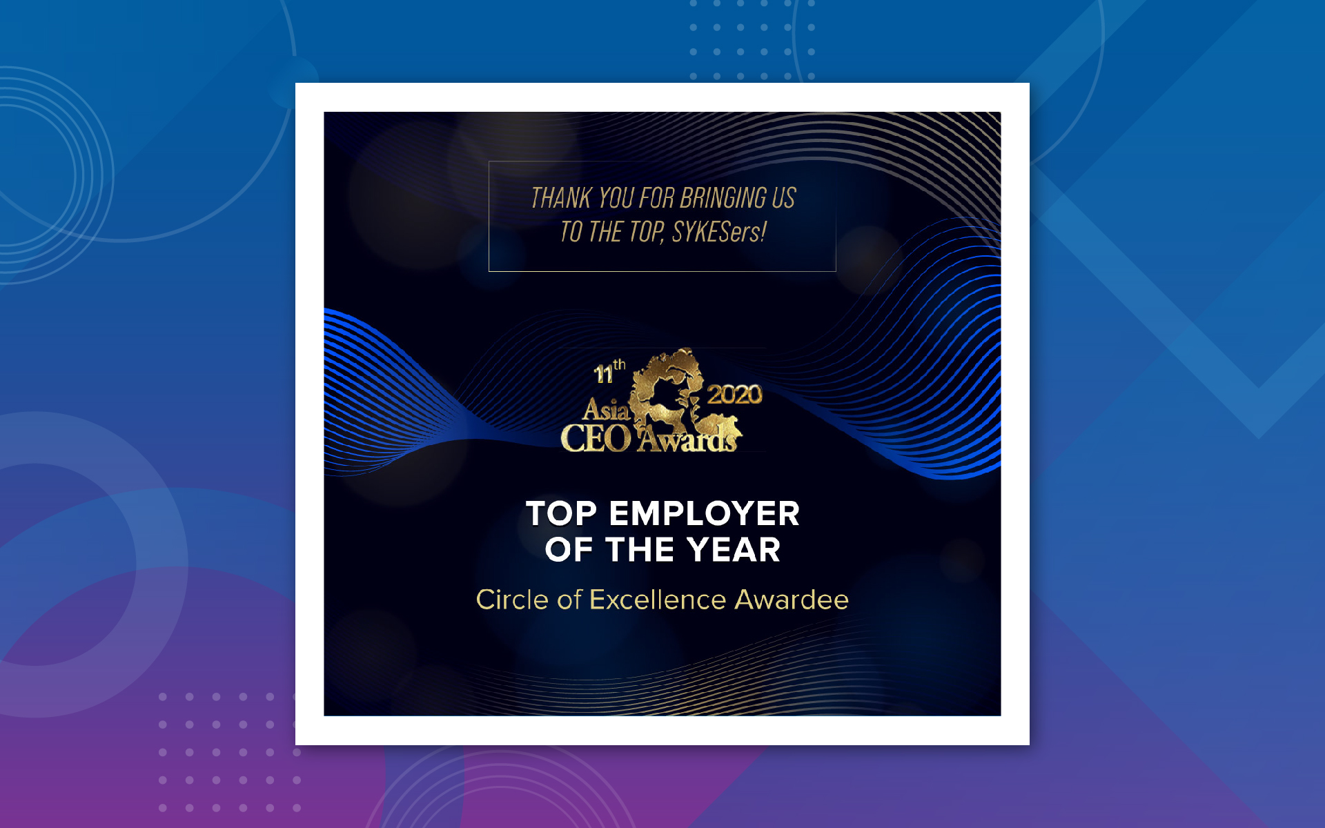 SYKES Philippines Wins Top Employer of the Year at Asia CEO Awards